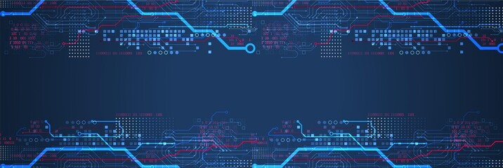 Abstract technology concept. Circuit board, high computer color background. Vector illustration with space for content, web - template, business tech presentation.