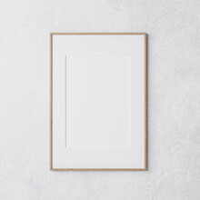 Wooden Vertical Frame Mockup On White Wall, 3d Render