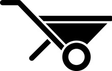 Black Wheelbarrow Icon Isolate...