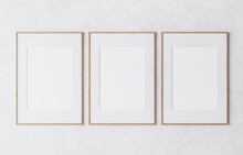 Three Wooden Frame On White Wall, Frame Mockup, 3d Render