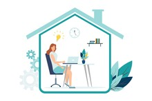 Vector Illustration, Work From Home Online, Creative Space, Self-isolation, Freelancer Working On A Laptop