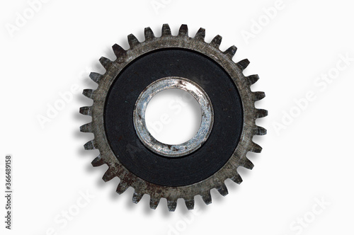 Old iron rusty gear wheel on a white background