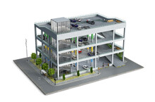 Modern Parking Building On A Piece Of Ground, 3d Illustration