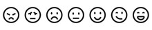 Emoji Vector Icon Collection. Social Network Reactions. Emotion Face Set.