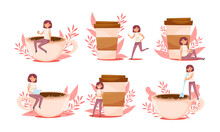 Young Woman Character And Huge Coffee Cup With Floral Backdrop Vector Illustrations Set