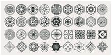 Set Of Hand Drawn Oriental Elements. Black Mandala / Asian Traditional Design.