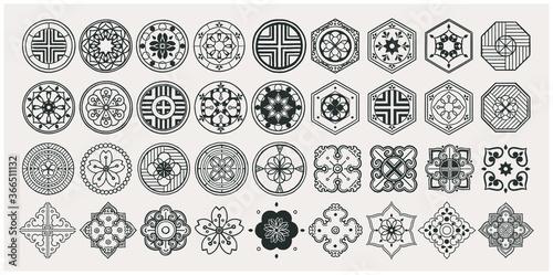 Set of hand drawn oriental elements Billede på lærred
