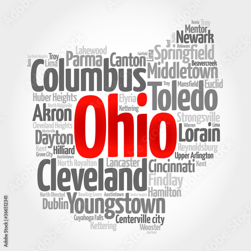 List of cities in Ohio USA state, map silhouette word cloud, map concept backgro Canvas Print