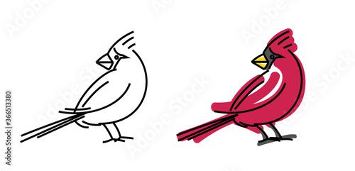 Slika na platnu red cardinal small bird portrait