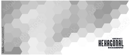 Fototapeta gray and white hexagonal pattern banner design obraz