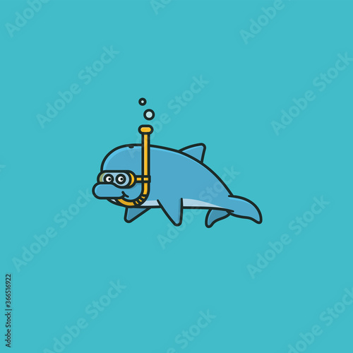 Obraz Happy Dolphin with snorkel cartoon character vector illustration  for World Snorkeling Day on July 30th. Aquatic sports and underwater adventure symbol. - fototapety do salonu