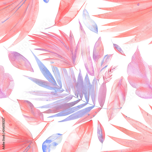 Fototapety, obrazy: Exotic plants. Watercolor pink, lilac, coral tropical leaves, Seamless patterns
