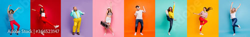 Panorama collage eight cool funny attractive active modern people six ladies two guys men good mood dance discotheque party isolated many colors blue violet teal orange yellow pink red background