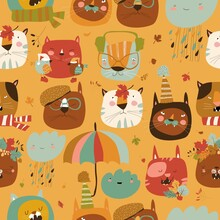 Seamless Pattern With Muzzles ...