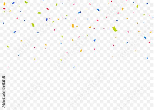 Fototapeta Color falling confetti isolated background. Colorful pieces of paper. Confetti explosion obraz na płótnie