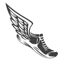 Hand Drawn Silhouette Running Shoes With Wings Isolated On White Background. Stylized Vector Illustration. Minimalistic Vintage Design Template Element For Print, Label, Badge Or Other Symbol.