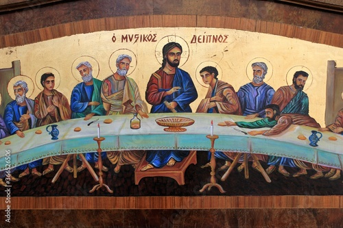 Slika na platnu Greece, Athens, July 16 2020 - Old painting with the Last Supper outside an antique shop in the center of Athens