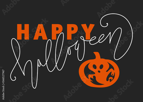 Fototapeta Happy Halloween lettering and Illustration on black background. Holiday calligraphy for banner, poster, greeting card, party invitation. obraz