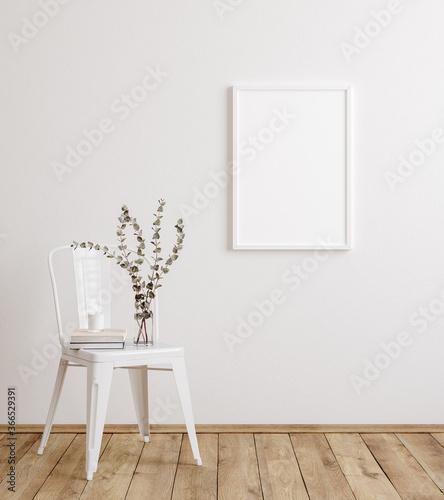 Canvastavla Mockup frame in farmhouse living room interior, 3d render