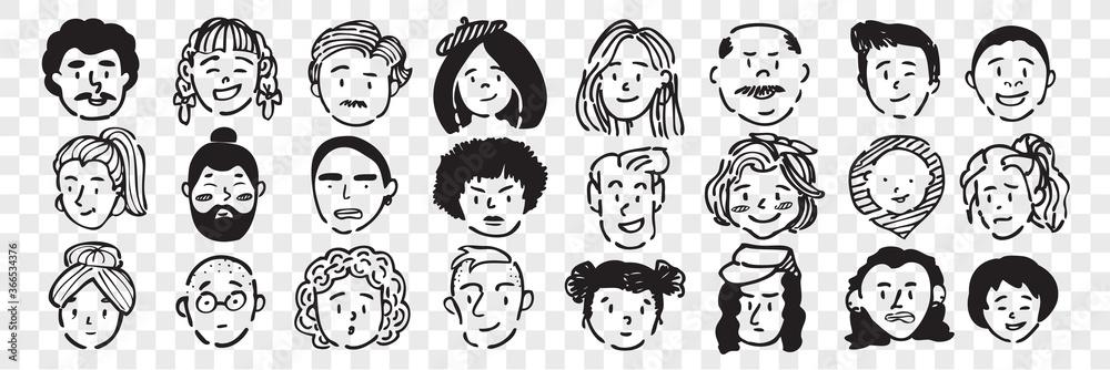 Fototapeta Hand drawn human faces doodle set.