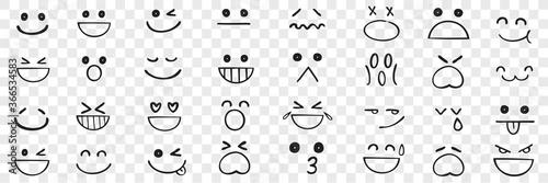 Fototapeta Hand drawn emotions doodle set