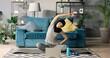 Portrait of Arab woman doing gymnastics at home.