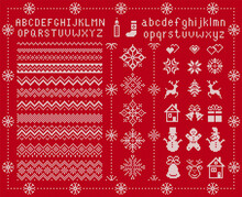 Knit Font And Xmas Elements . ...