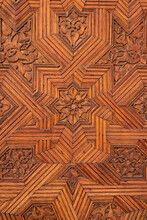 Detail Of A Carved Wooden Door...