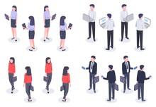 Business People Isometric Set. Man And Woman Office Worker In Elegant Formal Clothes Holding Devices As Laptop, Smartphone And Tablet. Female And Male Employee Front And Back View Vector Illustration