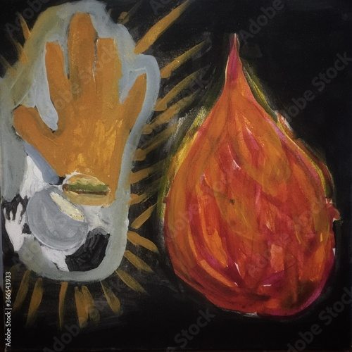 Photo Fire and Buhhda's Hand Colors Painting Picture