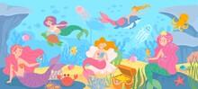 Underwater With Mermaids. Seab...