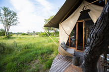 Exterior Of A Tent, Tourist Accommodation In A Safari Camp.