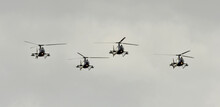 Four Military Helicopters Are ...