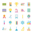 icon set of geography tool and back to school, flat style