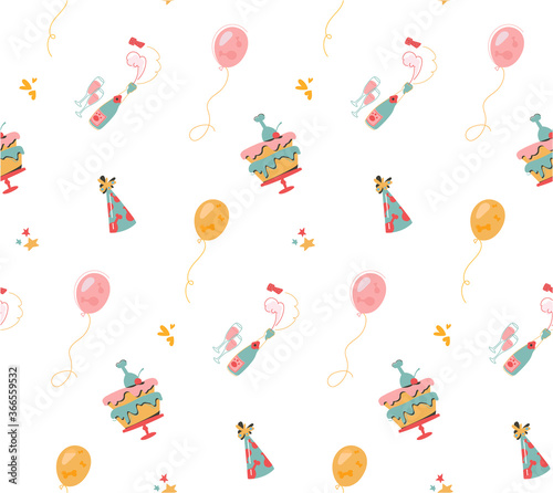 Cute flat vector background with cakes, balloons, champagne Wallpaper Mural