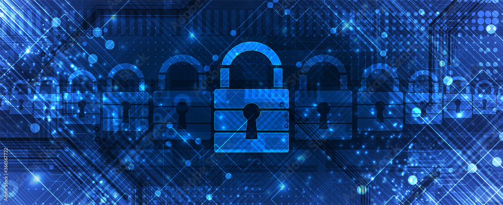 Fototapeta Cybersecurity and information or network protection. Future technology web services for business and internet project