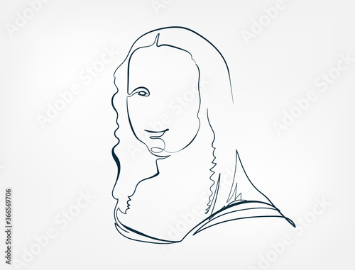 Tablou Canvas la gioconda famous painting line one art isolated vector illustration