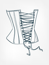 Corset Line One Art Isolated Vector Illustration