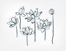 Flower Lotus Line One Art Isolated Vector Illustration