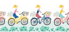 Women Riding On Bicycles Seaml...