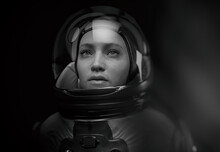 Woman Astronaut With Glass Helmet And Dramatic Lighting