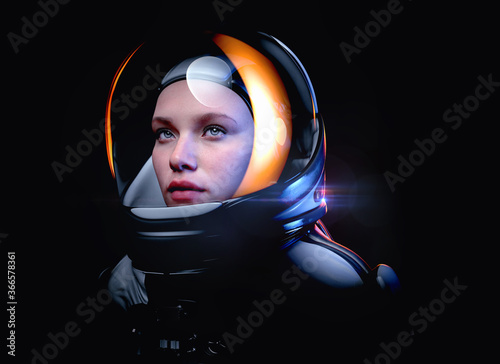 Canvas Print woman astronaut with glass helmet and dramatic lighting