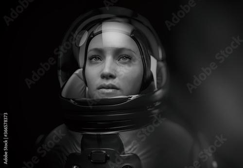 Tela woman astronaut with glass helmet and dramatic lighting