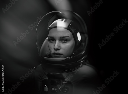 Valokuva woman astronaut with glass helmet and dramatic lighting - 3d rendering