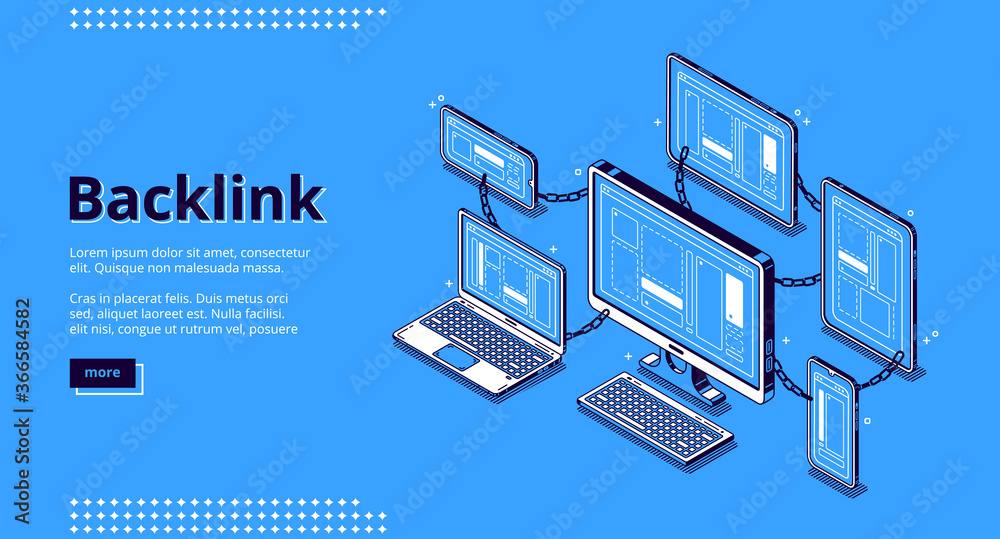 Fototapeta Backlink banner. Concept of building hyperlink system, cooperation of websites, seo optimization. Vector landing page of inbound connect with isometric illustration of sites chain, computer network