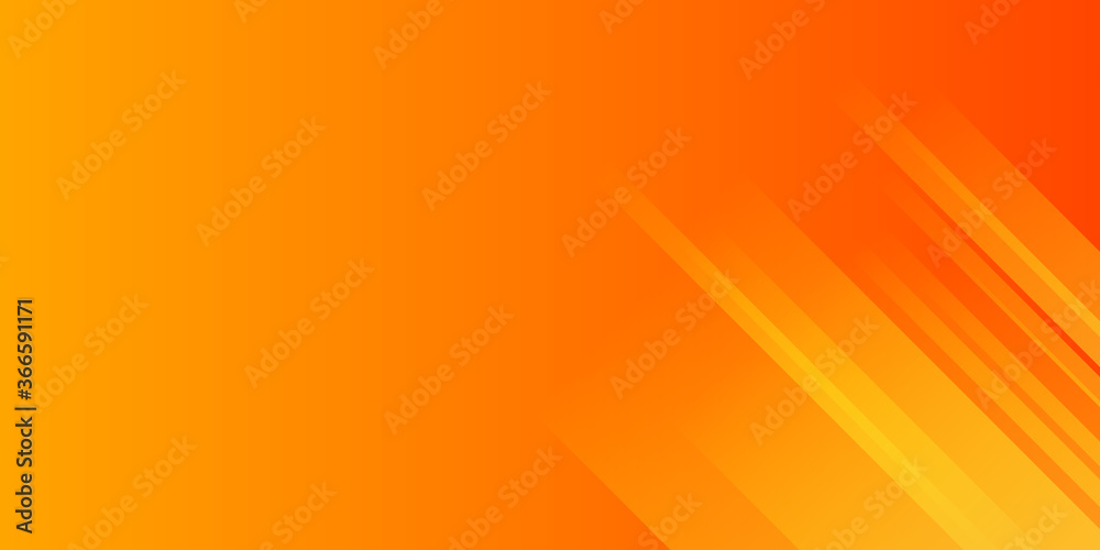 Fototapeta Abstract yellow and orange warm tone background with simply curve lines lighting element vector for presentation design
