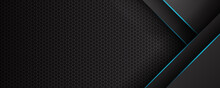 Trendy Composition Of Blue Technical Shapes On Black Background. Dark Metallic Perforated Texture Design. Technology Illustration. Vector Header Banner