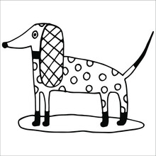 Dog With Polka Dots Abstract Simple Drawing Long Ears In A Cage Beautiful Funny Puppy Hand Drawing Black And White Contour Liner Doodle Isolated Drawing On The Door Booth Cup Dog Food