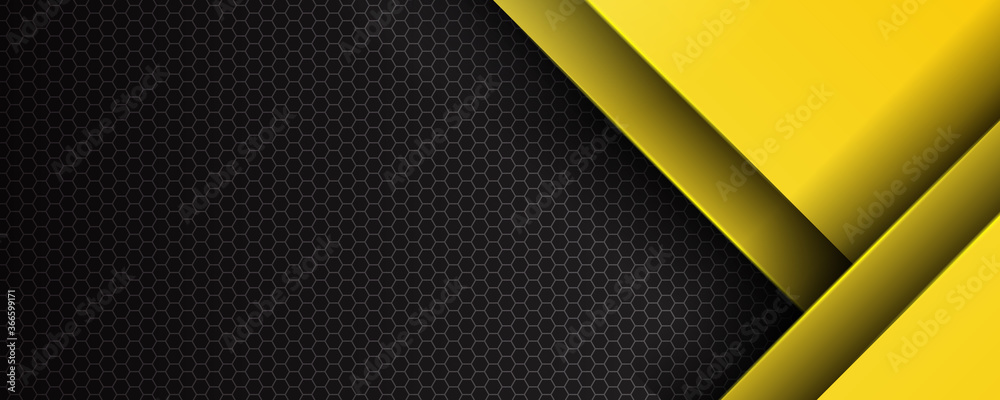 Fototapeta Futuristic perforated technology abstract background with yellow neon glowing lines. Vector banner design