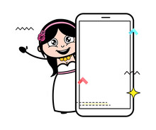 Cartoon Bride With Empty Cell Phone Screen